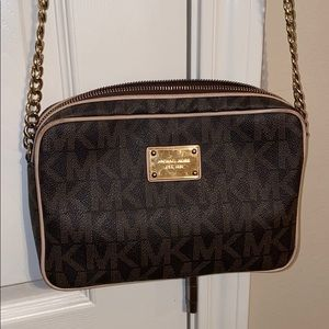 Michael Kors Jet Set Leather Logo Crossbody Bag